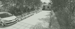 Conception et aménagement de jardin, design de jardin moderne dans les Landes de Gascogne, aménagement d'une allée carrosable, d'un espace d'acceuil, terrasse en bois, cusine d'exterieur, abri vélo et cabanon, écran végétal masquant les vis à vis, arbres et massifs d'agréments,espace détente, vue en 3 dimensions d'un jardin en pays de Born