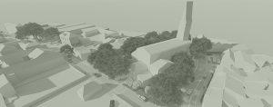 Projet d'aménagement du bourg de Quinsac, Axonométrie montrant la conception des espaces publics, présentant la réorganisation des espaces automobiles et des espaces piétons, du stationnement et des espaces jardinés, des parvis en pierre pour la mise en valeur du patrimoine