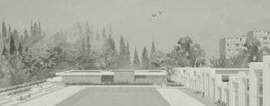 aménagement d'une piscine olympique,relief en terrasse, cheminements handicapés, jeux d'eaux, pentagliss, pelouses paysagères, terrain de volley, blp architectures, Paul LEURENT paysagiste